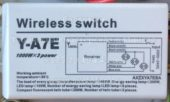 Блок управления Y-A7E 03 (Wireless switch)