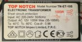 Трансформатор TOP NOTCH TN-ET-105 35-105W (Electronic transformer)