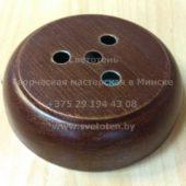 Потолочная чашка круглая металлическая на 1 отверстие и 3 тросика (медь) (123×30 мм)