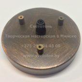 Потолочная чашка круглая металлическая на 1 отверстие и 3 тросика (медь) (110×18 мм)